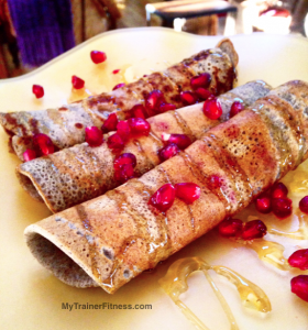 Banana Cinnamon Pomegranate Crêpes