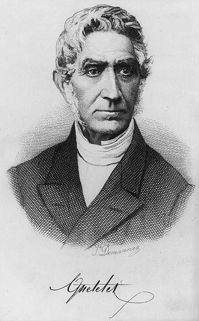 Lambert Adolphe Jacques Quetelet (French: 22 February 1796 – 17 February 1874. Image from Wikipedia.